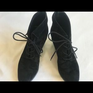Madden Girl Shoes - Black Lace-Up Wedge Heeled Cuffed Booties 8.5